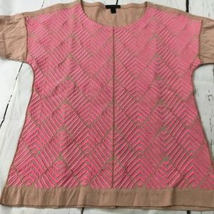J. Crew Pink Embroidered Short Sleeved Blouse